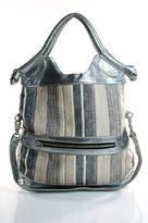 Foley + Corinna Silver Brown Tan Beige Woven Stripe Shoulder Handbag
