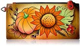 Anuschka Anna By Handpainted Leather Organizer Wallet, Fall Bouquet Credit Card Holder