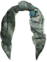 Alexander McQueen Printed Wool And Cashmere-blend Scarf - Blue