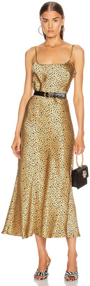 Rixo Holly Dress in Leopard Gold & Black | FWRD