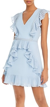 BCBGMAXAZRIA Pleated Ruffle Dress