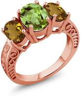 Gem Stone King 3.20 Ct Oval Green Peridot Whiskey Quartz 18K Rose Gold Plated Silver Ring