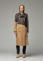 Bottega Veneta Women's Double Breasted Trench Jacket Coat With Leather in Camel Size 40