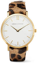 Larsson & Jennings Lugano Leopard-print Calf Hair And Gold-plated Watch - one size