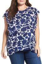 Lucky Brand Plus Size Women's Floral Print Flutter Sleeve Top