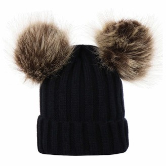 Amaone Winter Warm Hat for Women - Winter Beanie Hat Knitted Chunky with Double Faux Fur Pom Pom Cap Ski Hat Black
