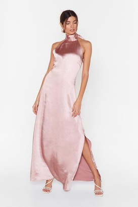 Nasty Gal Womens You Hold Me Up Satin Halter Dress - Pink - 14