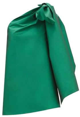 BERNADETTE Tom Tom One-shoulder Taffeta Mini Dress - Green