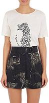 Nina Ricci Women's Leopard-Graphic Cotton T-Shirt-White