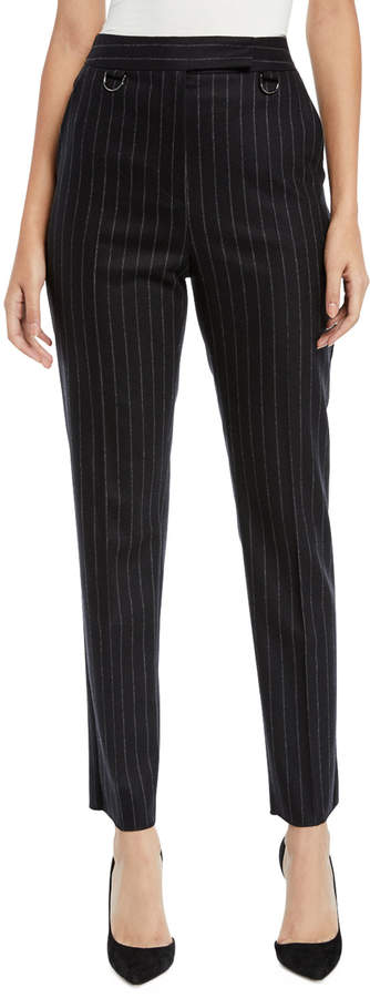 Max Mara High-Waist Tapered-Leg Pinstripe Wool-Cashmere Pants