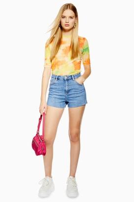Topshop Womens Petite Premium Blue Denim Mom Shorts - Mid Stone