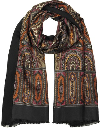 Forzieri Modal & Silk Ornamental Print Men's Fringed Scarf