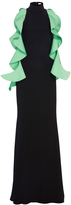 Christian Siriano Silk Faille Black High Collar Gown With Grass Green Cascading Flounce Detail