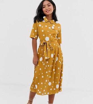 Asos DESIGN Petite midi shirt dress with pleated skirt and belt in spot print-Multi