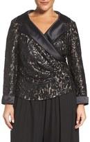 Alex Evenings Plus Size Women's Satin Collar Sequin Lace Blouse