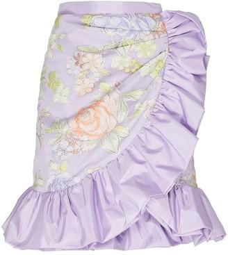 Rodarte Lilac Floral Print Ruffle Skirt