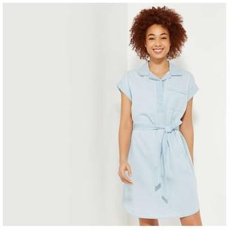 Joe Fresh Women's Belted Dress, Light Blue (Size XS)