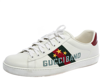 Gucci White Leather Ace Band Sneakers Size 44
