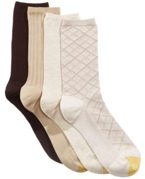 Gold Toe Women's 4 Pack Textured Crew Socks