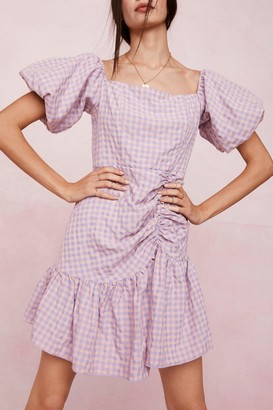 Nasty Gal Womens Gingham Puff Sleeve Mini Dress - Purple - 6