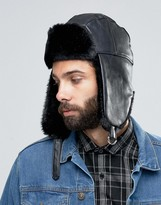 Asos Trapper Hat In Black Faux Leather