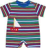 Florence Eiseman Multi-Stripe Sailboat Shortall, Size 3-24 Months