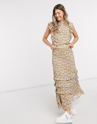 Y.A.S chiffon maxi skirt co-ord in beige floral