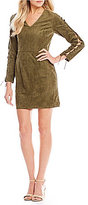 GB Lace-Up Sleeves Faux Suede Sheath Dress