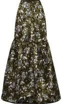 Erdem Amanda Tiered Floral-Jacquard Maxi Skirt