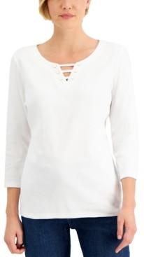Karen Scott Cotton Split-Neck Top, Created For Macy's
