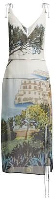 Altuzarra Ponza Silk-chiffon Midi Dress - Womens - Blue Multi