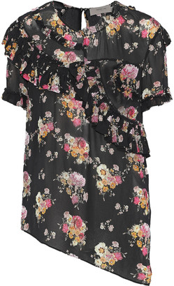 Preen Line Giana Ruffle-trimmed Floral-print Chiffon Blouse