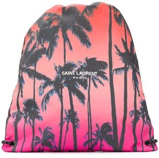 Saint Laurent Palm-print drawstring backpack