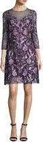 Marchesa 3/4-Sleeve Embroidered Floral Mesh Cocktail Dress, Navy/Purple