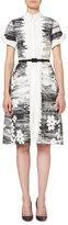 Carolina Herrera Short-Sleeve Floral Belted Shirtdress, Black/White