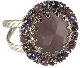 Sorrelli Purple & Silvertone Circle Cocktail Ring With Swarovski® Crystals