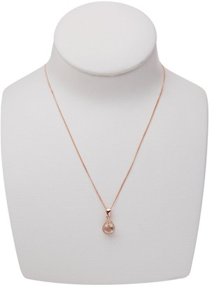 The Love Silver Collection Rose Gold Plated Sterling Silver Glass Morganite and White Cubic Zirconia Teardrop Pendant Necklace