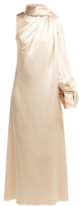 Hillier Bartley Draped Silk-satin One-shoulder Dress - Ivory