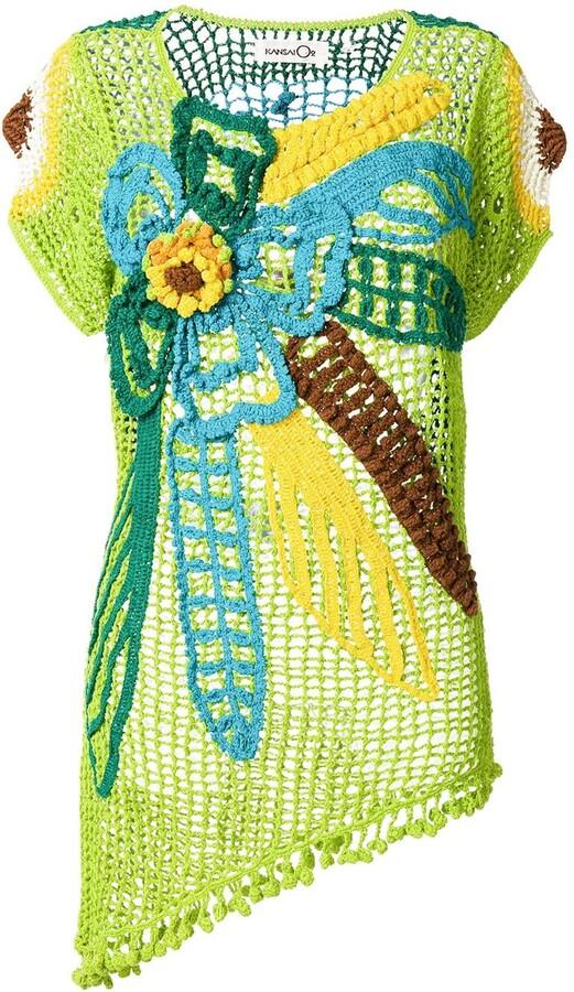 Kansai Yamamoto Pre-Owned 1990s Flower Design Crochet Top