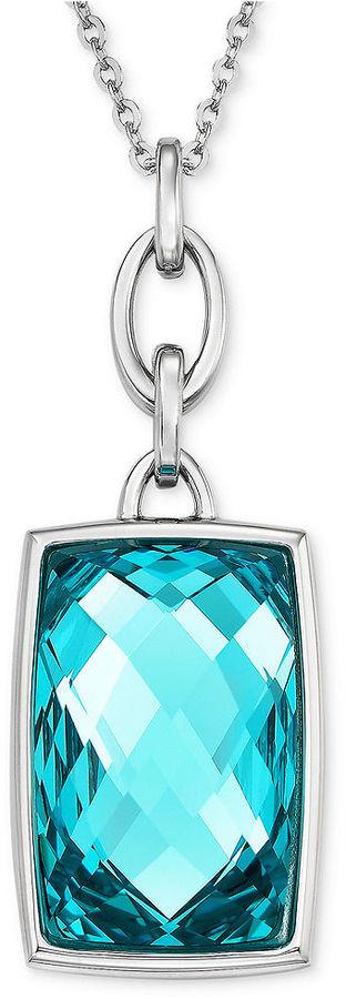 Swarovski Necklace, Rhodium-Plated Light Turquoise Crystal Pendant Necklace