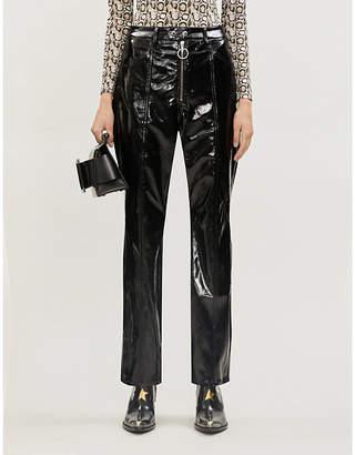 Good American Good straight-leg patent pleather trousers