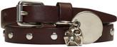 Alexander McQueen Brown Studded Skull Charm Double Wrap Bracelet
