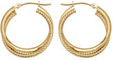 Lord & Taylor 14K Yellow Gold Textured Hoops