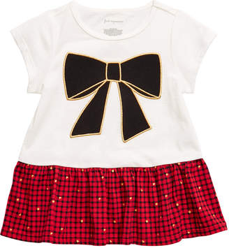 First Impressions Baby Girls Cotton Bow Plaid Peplum T-Shirt