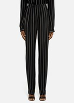 St. John Stripe Print CDC Pleat Front Pant With Side Pockets