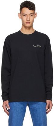 Museum of Peace and Quiet Black Wordmark Warped Long Sleeve T-Shirt
