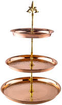 Old Dutch Three Tier Hammered Solid Copper ServingStand with Brass Stem