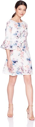 Tiana B T I A N A B. Women's Petite Bell Sleeve Print Dress