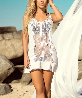Mapale Women's Swimsuit Coverups WHT - White Sheer Lace-Panel Coverup - Women