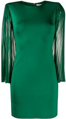 Alice + Olivia Pleated-Sleeve Bodycon Mini Dress